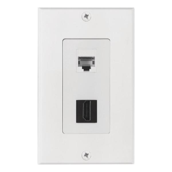 1 HDMI and 1 Ethernet Wall Plate, White