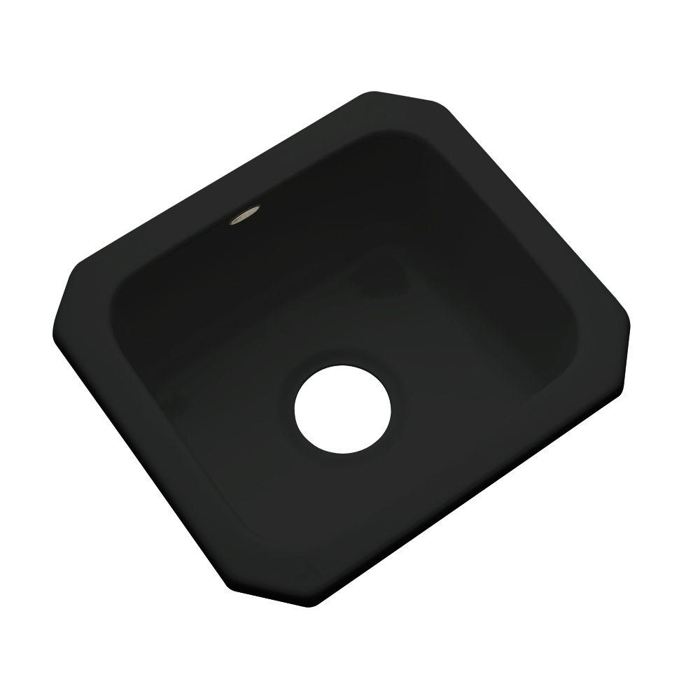 Thermocast Manchester Undermount Acrylic 16 in. 0-Hole Single Bowl Entertainment Sink in Black