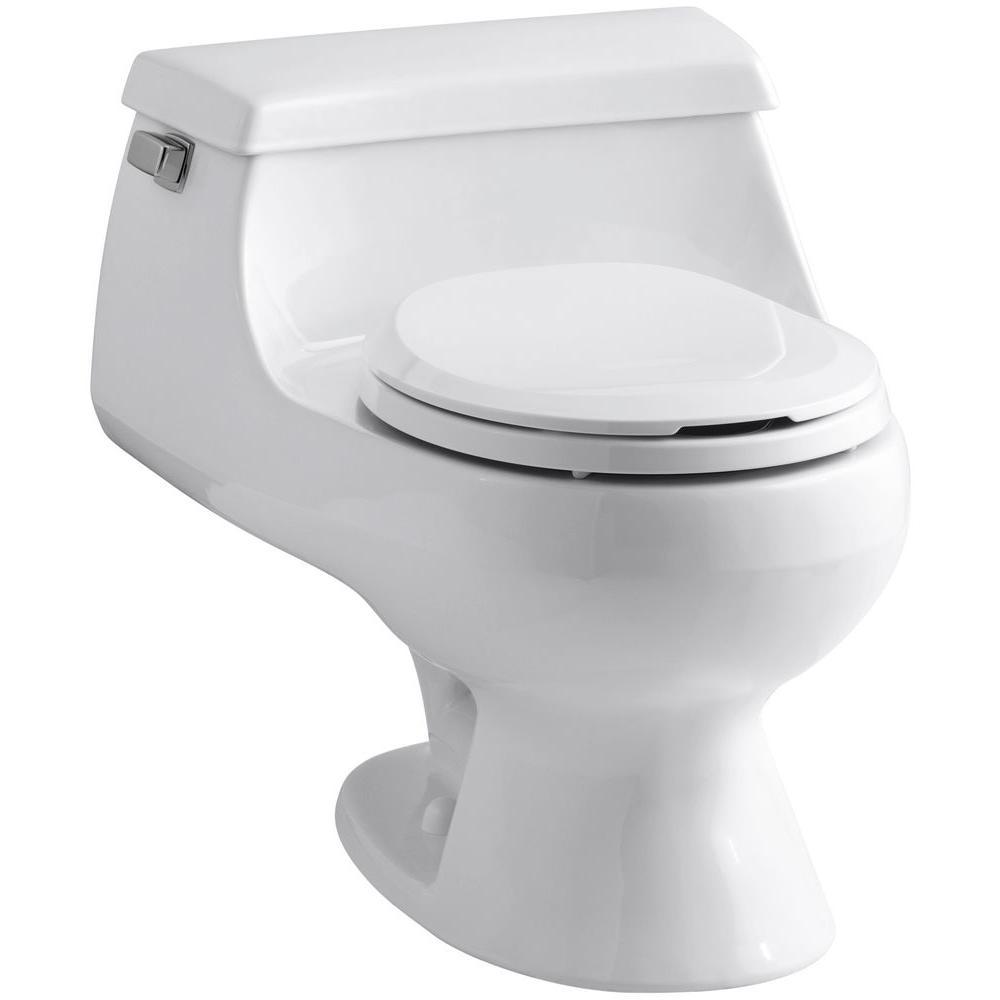 KOHLER Rialto 1-piece 1.6 GPF Single Flush Round Toilet in White-K ...