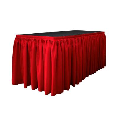 14 ft. x 29 in. Long Red Polyester Poplin Table Skirt with 10 L-Clips