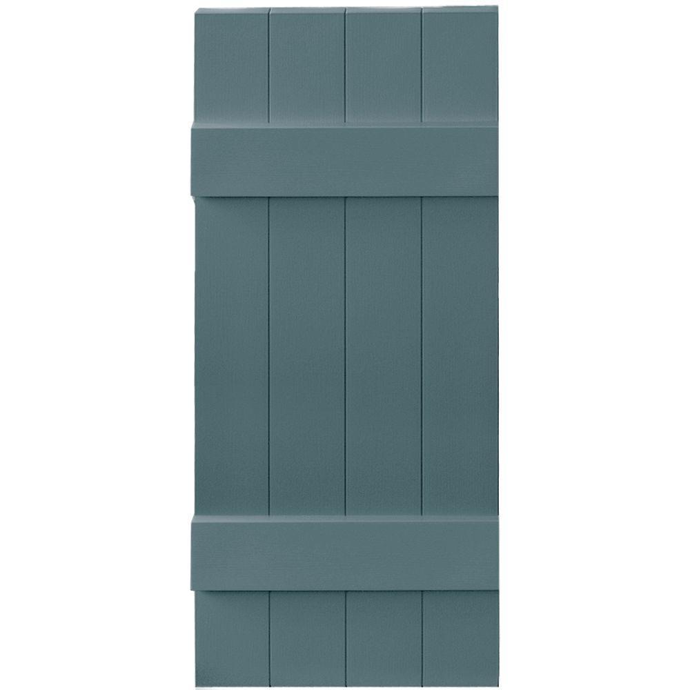 14 in. x 35 in. Board-N-Batten Shutters Pair, 4 Boards Joined #004 Wedgewood Blue