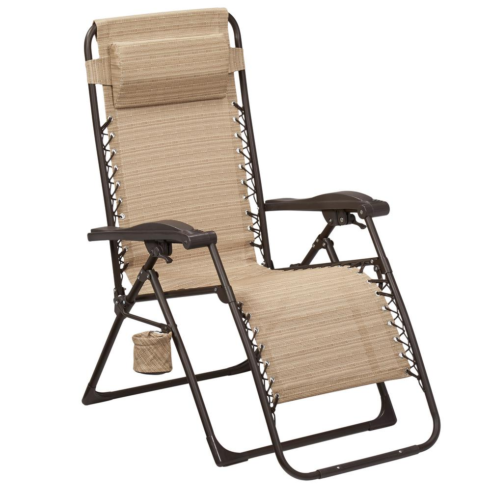 Exceptionnel Hampton Bay Mix And Match Zero Gravity Sling Outdoor Chaise Lounge Chair In  Cafe