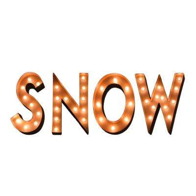 65 in. W x 12 in. H Small Rusted SNOW Letters Plug-In Marquee Lights