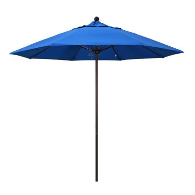 9 ft. Fiberglass Market Pulley Open Bronze Patio Umbrella in Royal Blue Olefin