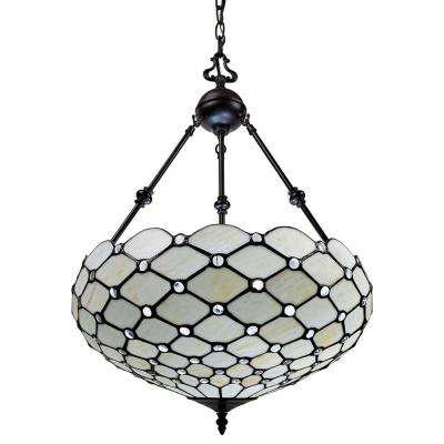 3-Light Tiffany Style Jeweled Hanging Pendant