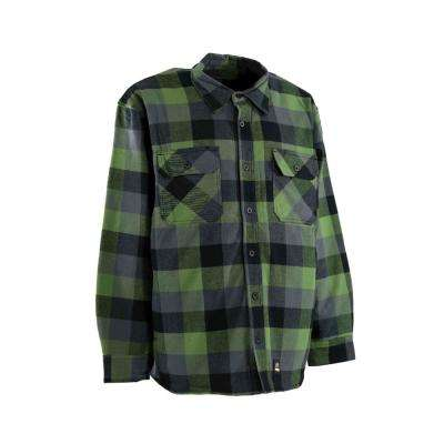 Men's Large Tall Plaid Green 100% Cotton Yarn-Dyed Flannel Shirt