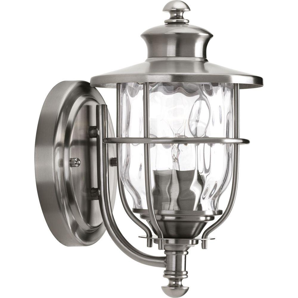 stainless steel lighting fixtures. Progress Lighting Beacon Collection 1-Light 6 Inch Stainless Steel Outdoor Wall Lantern-P6024-135DI - The Home Depot Fixtures