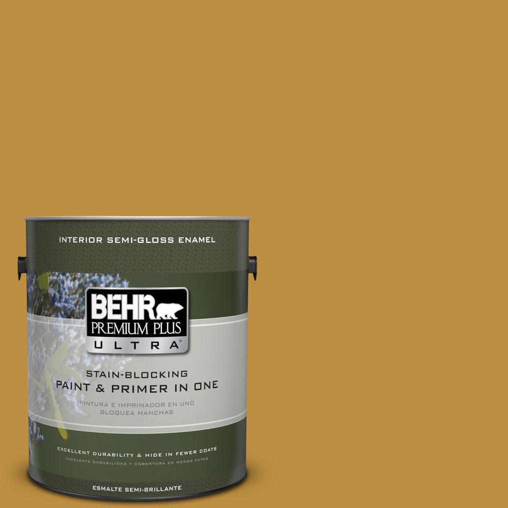 1-gal. #340D-6 Fervent Brass Semi-Gloss Enamel Interior Paint