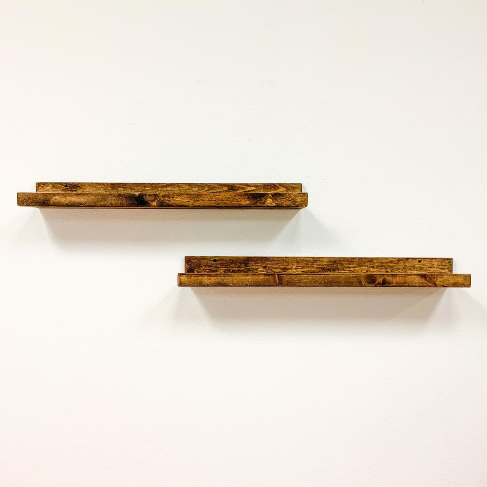 Rustic Luxe 7 in. x 36 in. Dark Walnut Pine Floating Decorative Wall Shelves