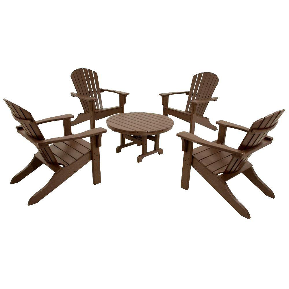 Classics Mahogany 5-Piece Shell Back Adirondack Patio Conversation Set