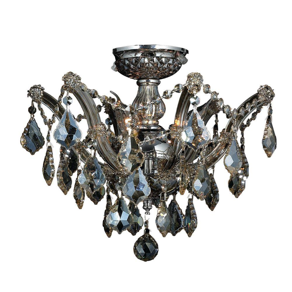 Worldwide Lighting Bayou 3 Light Chrome Semi Flush Mount With Golden Teak Crystal