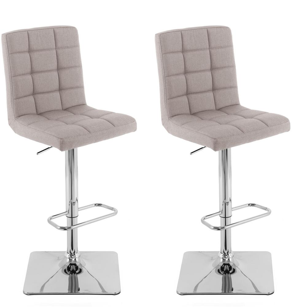 Adjule Height Light Grey Square Tufted Fabric Bar Stool Set Of