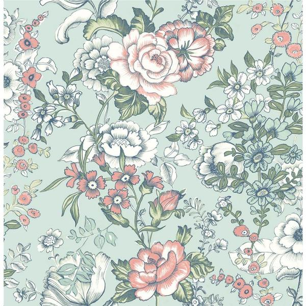 A-Street Ainsley Aqua Boho Floral Wallpaper 1014-001846
