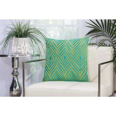 Wild Chevron Green and Turquoise Indoor and Outdoor Pillow