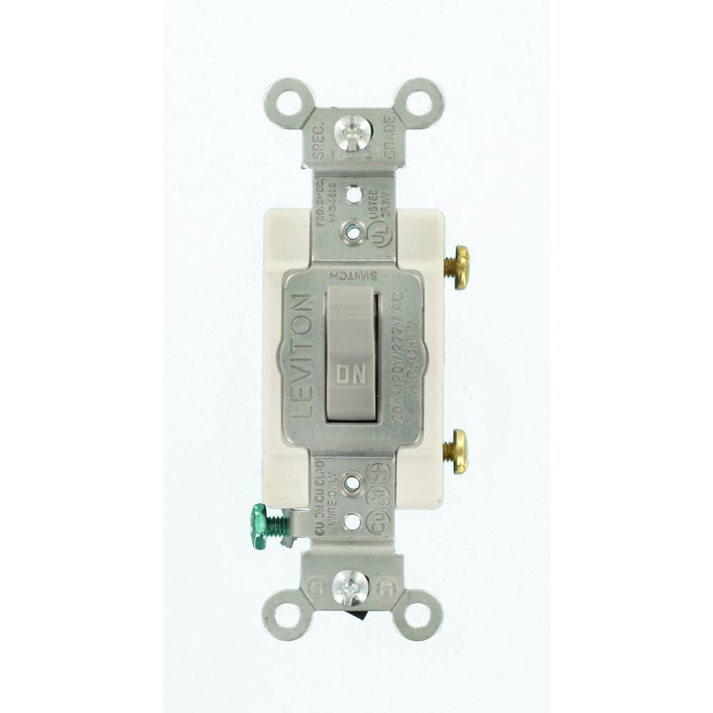 Leviton 20 Amp Commercial Grade Single-Pole Toggle Switch, Gray ...