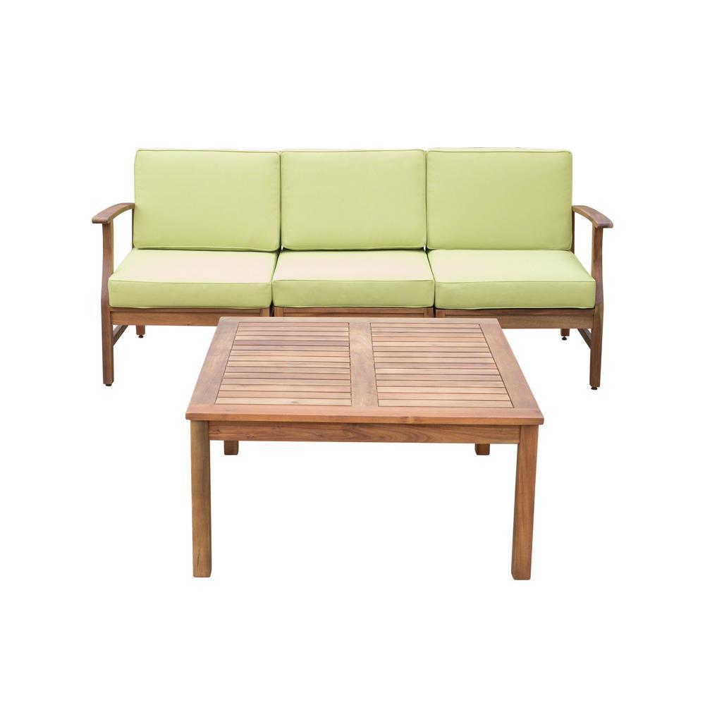 Perla Teak Brown 4-Piece Wood Patio Conversation Set with Green Cushions