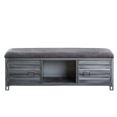 Mondo Hand-Brushed Silver Fabric Bench