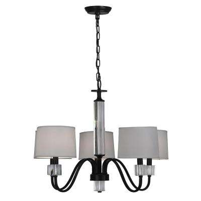 LuLue 5-Light Dark Bronze Chandelier with Fabric Shade