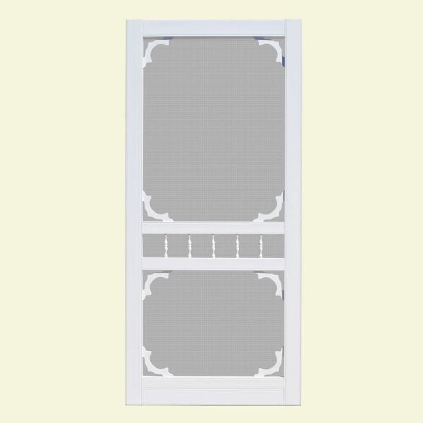 Unique Home Designs 36 In X 80 In Hatteras White Outswing Vinyl Hinged Screen Door Ishv720036wht The Home Depot