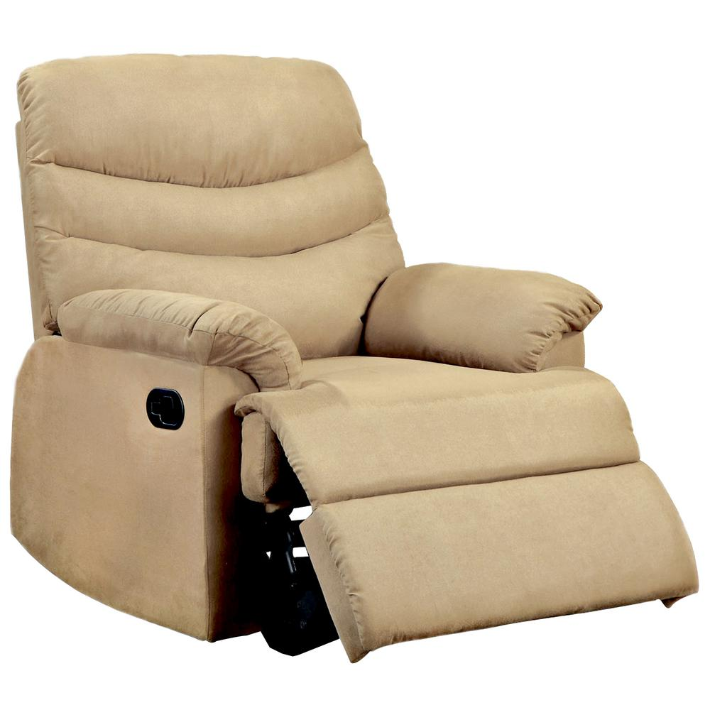 Clive light brown microfiber recliner cm rc6927lb the home depot