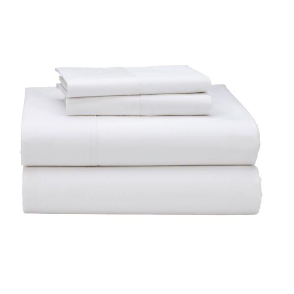 The Company Store 4-Piece White 300 Thread Count Sateen King Sheet