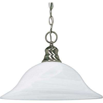 1-Light Brushed Nickel Incandescent Ceiling Pendant