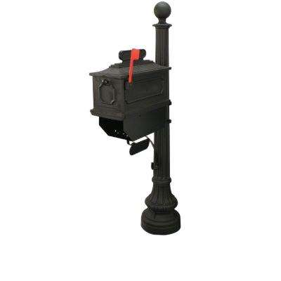 1812 Beaumont 65 in. Plastic Black Mailbox and Post