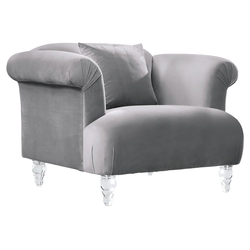 Armen Living Clear Elegance Contemporary Sofa Chair in Grey Velvet with  Acrylic Legs