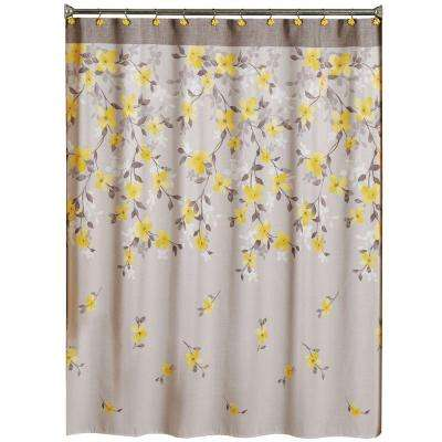 Spring Garden 70 in. W x 72 in. L Floral Fabric Shower Curtain