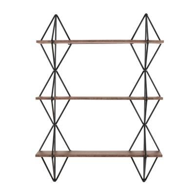 37 in. H x 27 in. W x 7 in. D Home Decorators Collection Wood and Black Metal Wall-Mount Bookshelf