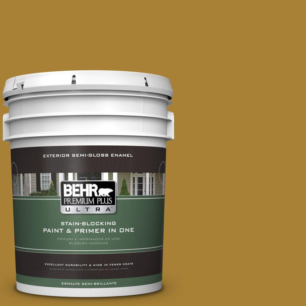 5-gal. #340D-7 Golden Green Semi-Gloss Enamel Exterior Paint