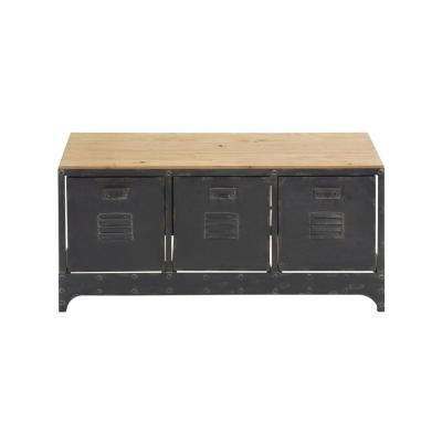 39 in. x 19 in. Distressed Black Metal and Brown Wood Storage Bench w/ 3 File Cabinet Drawers