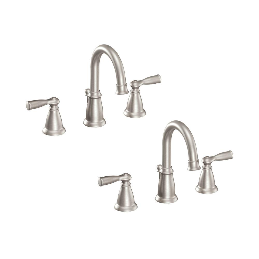 moen kitchen faucet brushed nickel moen banbury 8 in widespread 2 handle high arc bathroom faucet in spot resist brushed nickel 2 4334