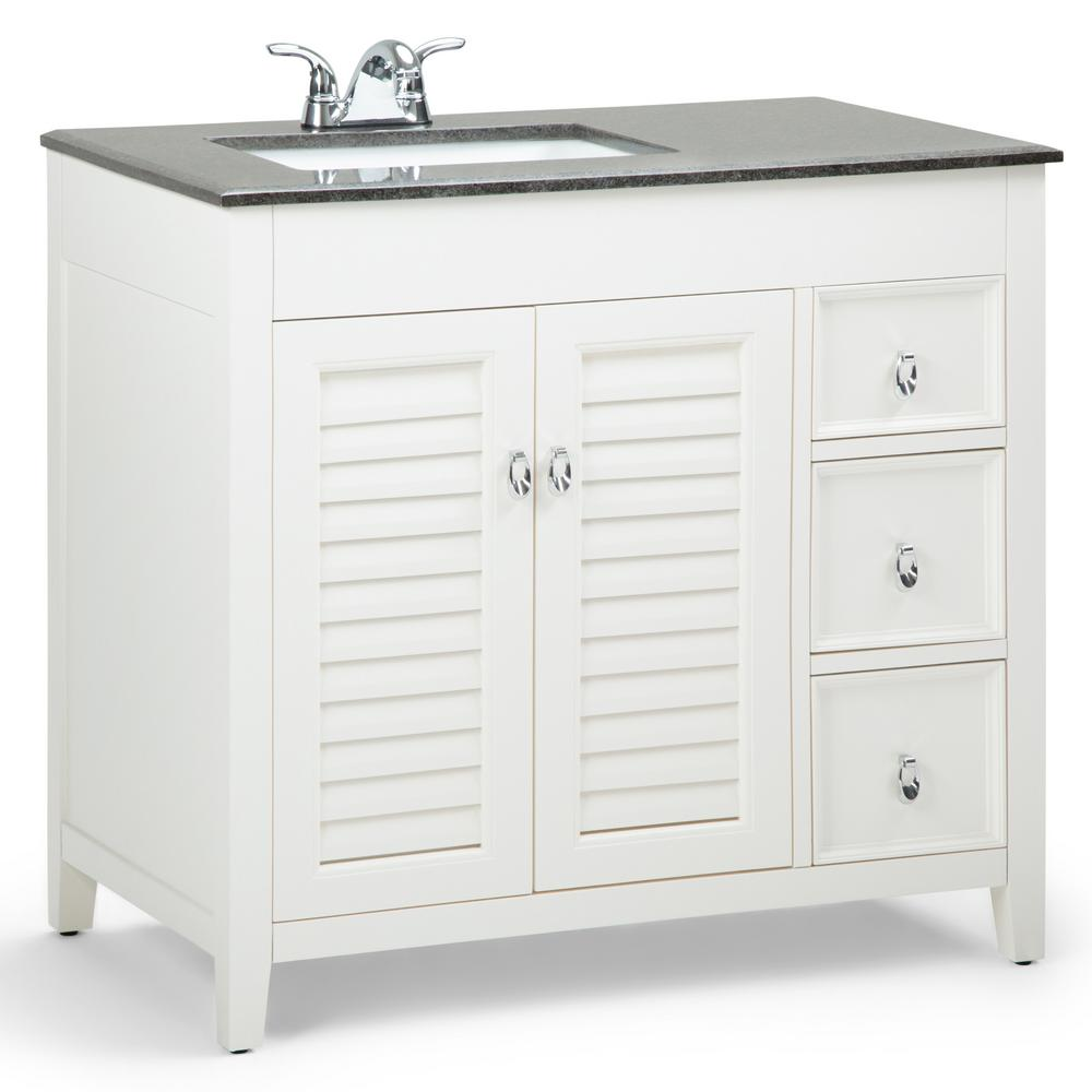 Simpli Home Adele 36 in. W x 21.5 in. D Left Offset Bath Vanity in Soft White with Granite Vanity Top in Black with Basin