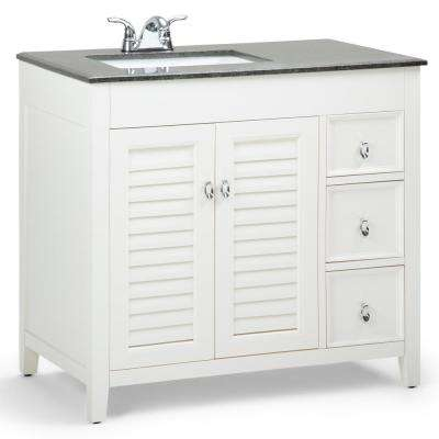 Adele 36 in. W x 21.5 in. D Left Offset Bath Vanity in Soft White with Granite Vanity Top in Black with Basin