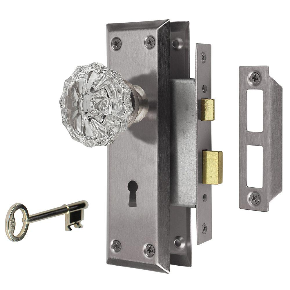 Defiant 2 In Satin Nickel Victorian Glass Knob Mortise