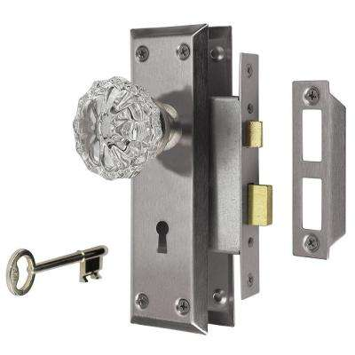 2 in. Satin Nickel Victorian Glass Knob Mortise Set