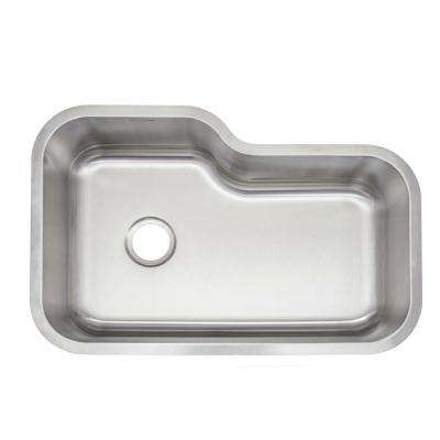 Undermount Stainless Steel 32 in. Single Bowl Kitchen Sink with Drain, Strainer and Wire Basket