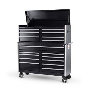 International Tech Series 54 inch 17-Drawer Tool Chest and Cabinet Combo Black by International
