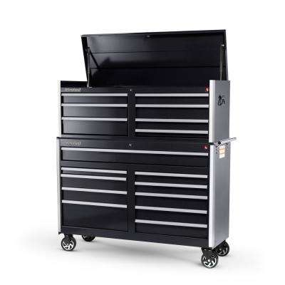 Tech Series 54 in. 17-Drawer Tool Chest and Cabinet Combo Black