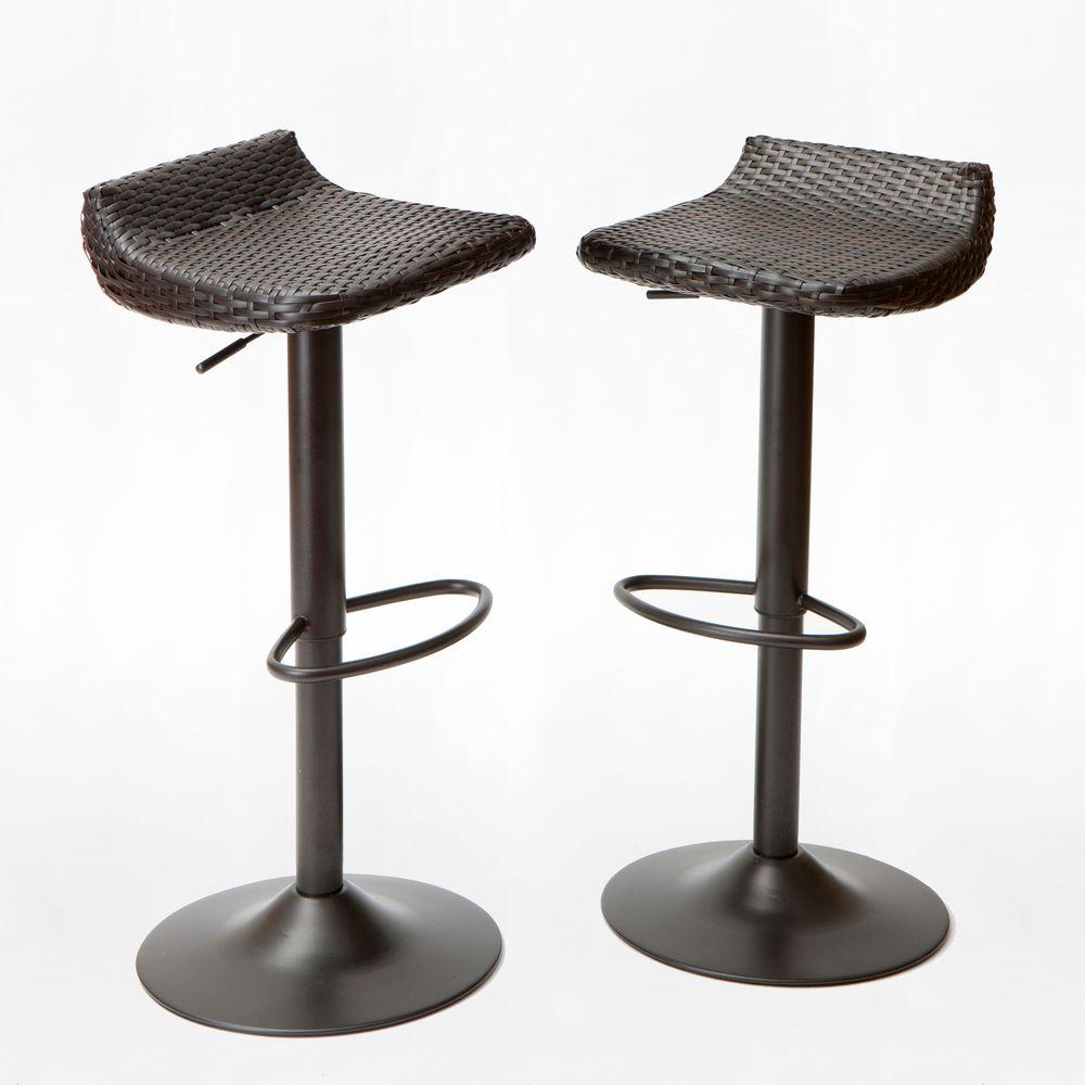 Outdoor Bar Stools ~ Rst brands woven wicker patio bar stool pack ip