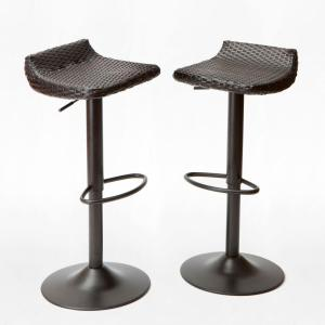 Rst Brands Woven Wicker Patio Bar Stool 2 Pack Ip Pebst3205 Deco The Home Depot