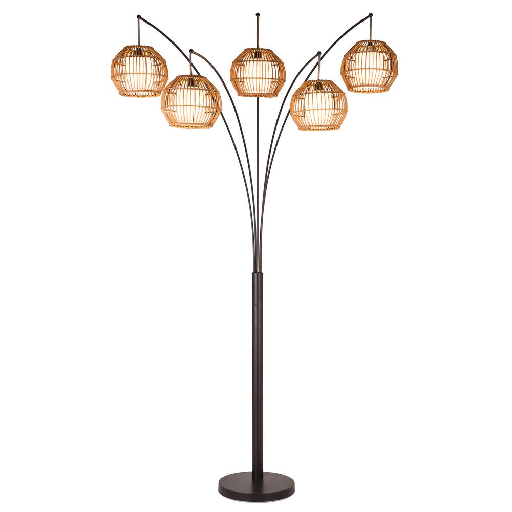 ARTIVA BALI 88 in. Oil Rubbed Bronze LED Arched Floor Lamp with Hancrafted Rattan Shade Dimmer
