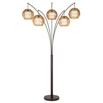BALI 88 in. Oil Rubbed Bronze LED Arched Floor Lamp with Hancrafted Rattan Shade Dimmer
