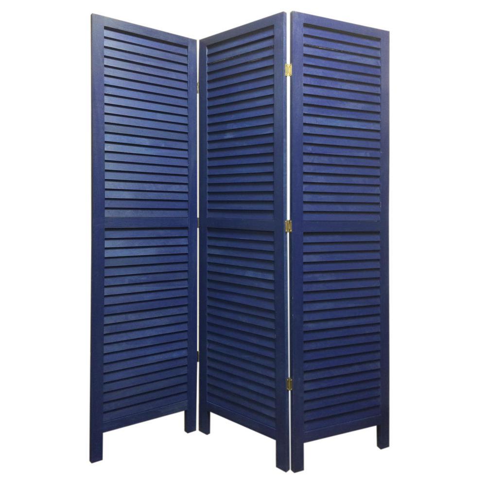 SHUTTER 5.5 ft. BLUE 3-Panel Room Divider