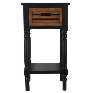 Beau Decor Therapy Melody Black And Hone Oak 1 Drawer End Table FR6332   The  Home Depot