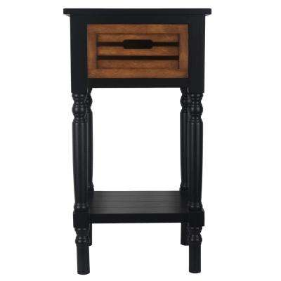 Melody Black and Hone Oak 1-Drawer End Table