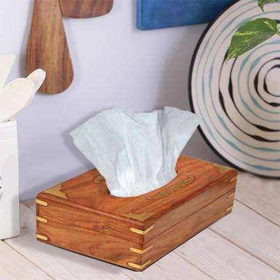 Handmade Wooden Brown Tissue Box Napkin Holder
