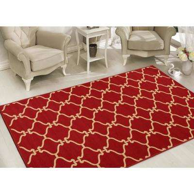 Clifton Collection Moroccan Trellis Design Red 8 ft. x 10 ft. Felt Area Rug