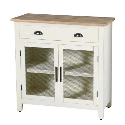 Quail Farm 2 Door White and Natural Drawer and Shelf Cabinet